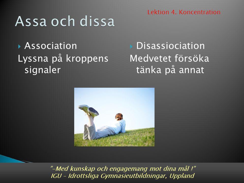 """ Association Lyssna på kroppens signaler  Disassiociation Medvetet försöka tänka på annat """"-Med kunskap och engagemang mot dina mål !"""" IGU – Idrotts"""