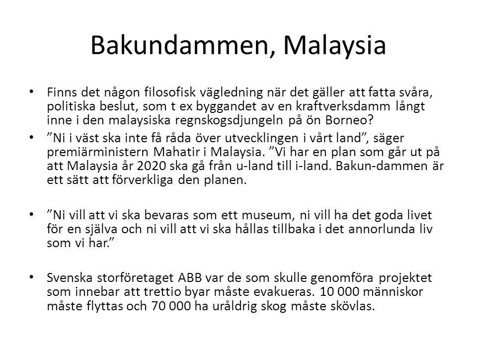 Bakundammen, Malaysia Finns det någon filosofisk vägledning när det gäller att fatta svåra, politiska beslut, som t ex byggandet av en kraftverksdamm långt inne i den malaysiska regnskogsdjungeln på ön Borneo.