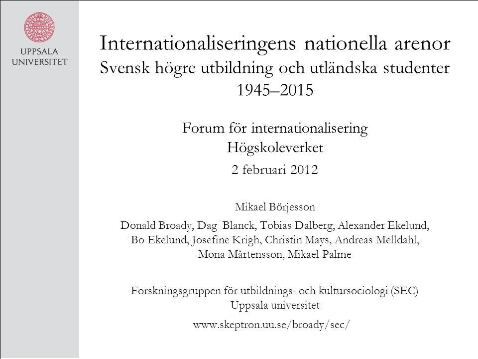 Internationaliseringens nationella arenor Svensk högre utbildning och utländska studenter 1945–2015 Forum för internationalisering Högskoleverket 2 fe