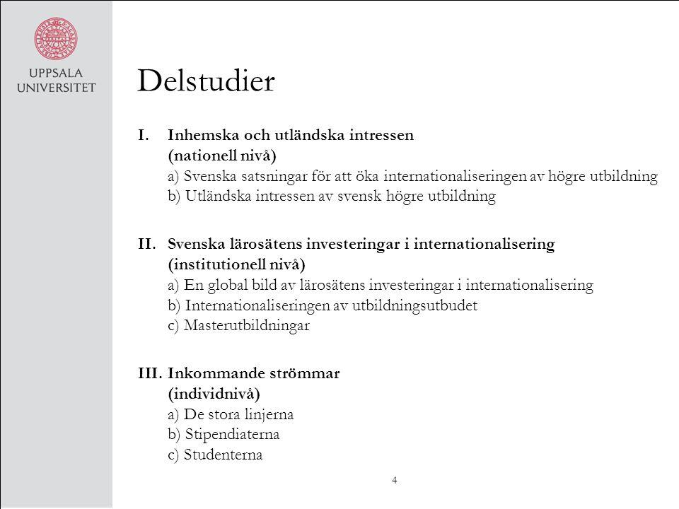 Delstudier I.Inhemska och utländska intressen (nationell nivå) a) Svenska satsningar för att öka internationaliseringen av högre utbildning b) Utländs