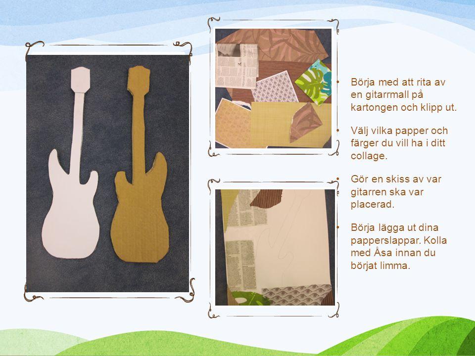 Börja med att rita av en gitarrmall på kartongen och klipp ut.