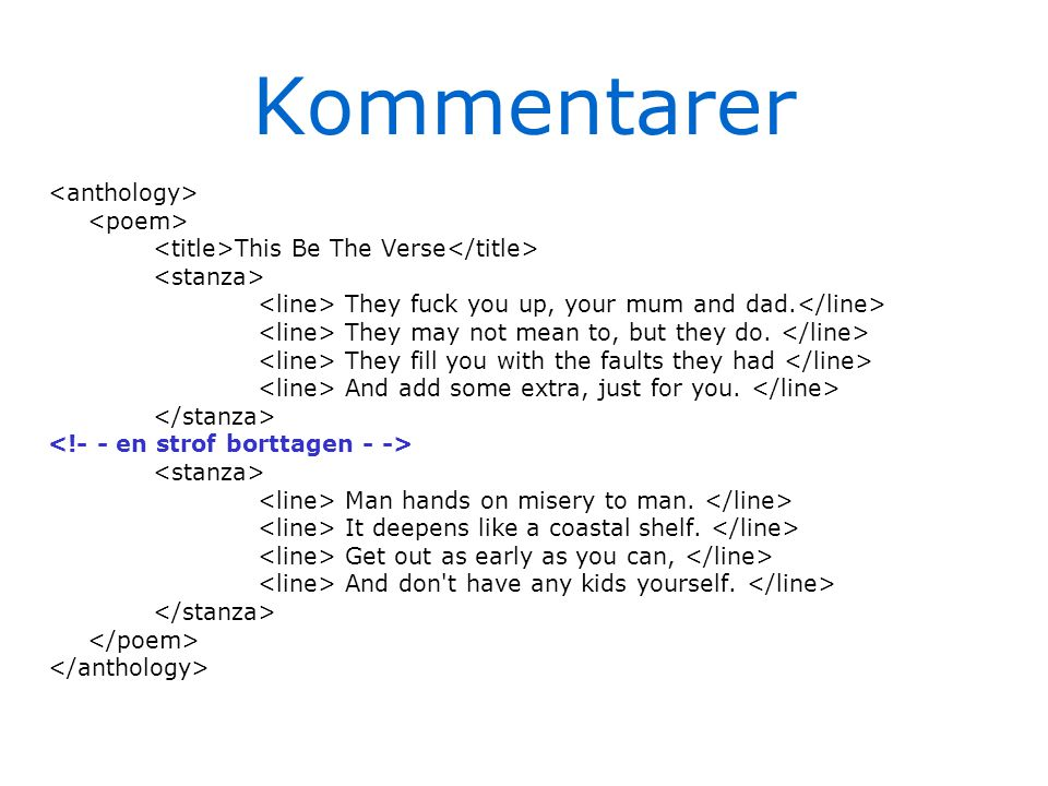 Kommentarer This Be The Verse They fuck you up, your mum and dad. They may not mean to, but they do. They fill you with the faults they had And add so