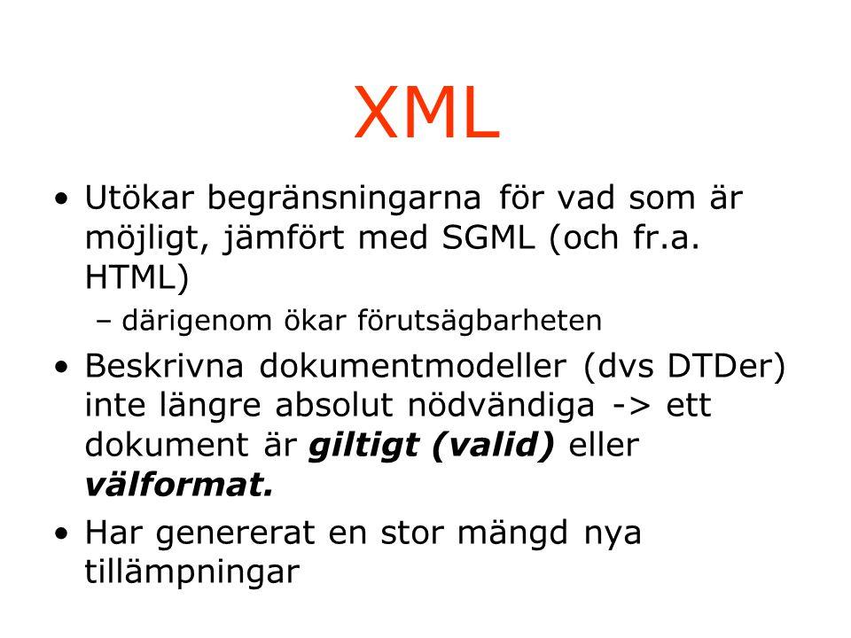 XML-teknik XML Xlink & XPointer XSL: –XSLT –XPath –XSL-FO