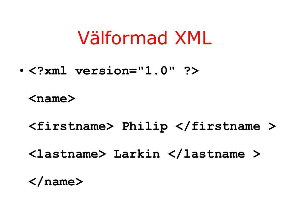 Välformad XML Philip Larkin