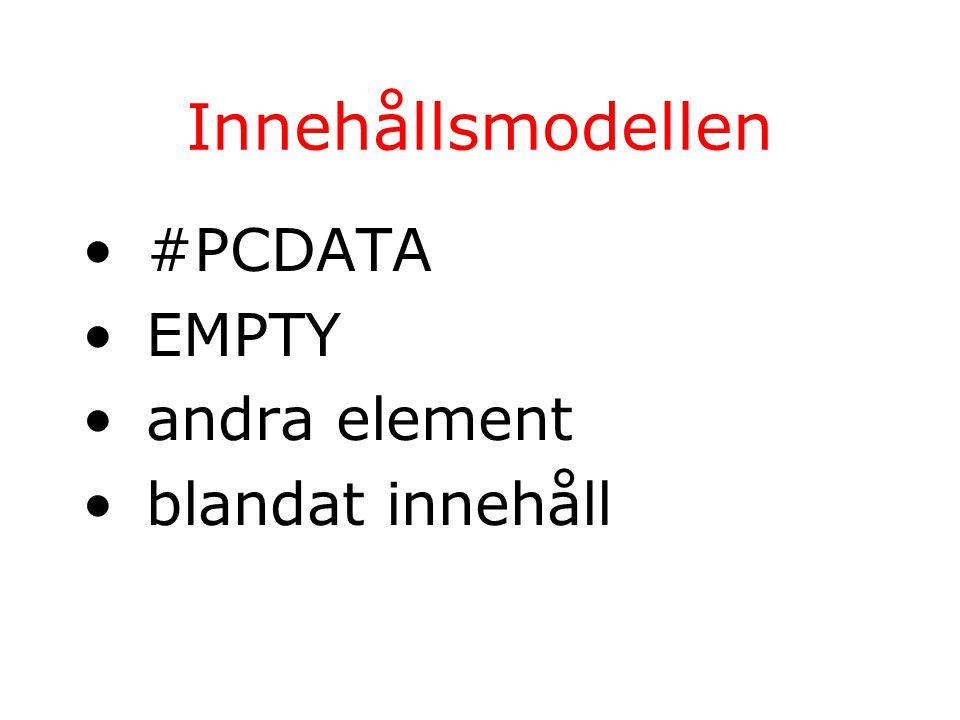 Innehållsmodellen #PCDATA EMPTY andra element blandat innehåll