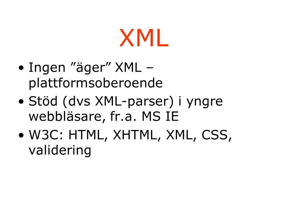 XML Ingen äger XML – plattformsoberoende Stöd (dvs XML-parser) i yngre webbläsare, fr.a.