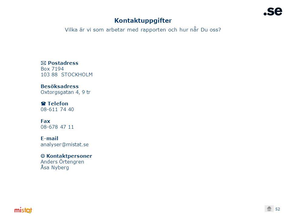 52  Postadress Box 7194 103 88 STOCKHOLM Besöksadress Oxtorgsgatan 4, 9 tr  Telefon 08-611 74 40 Fax 08-678 47 11 E-mail analyser@mistat.se Kontaktpersoner Anders Örtengren Åsa Nyberg Kontaktuppgifter Vilka är vi som arbetar med rapporten och hur når Du oss