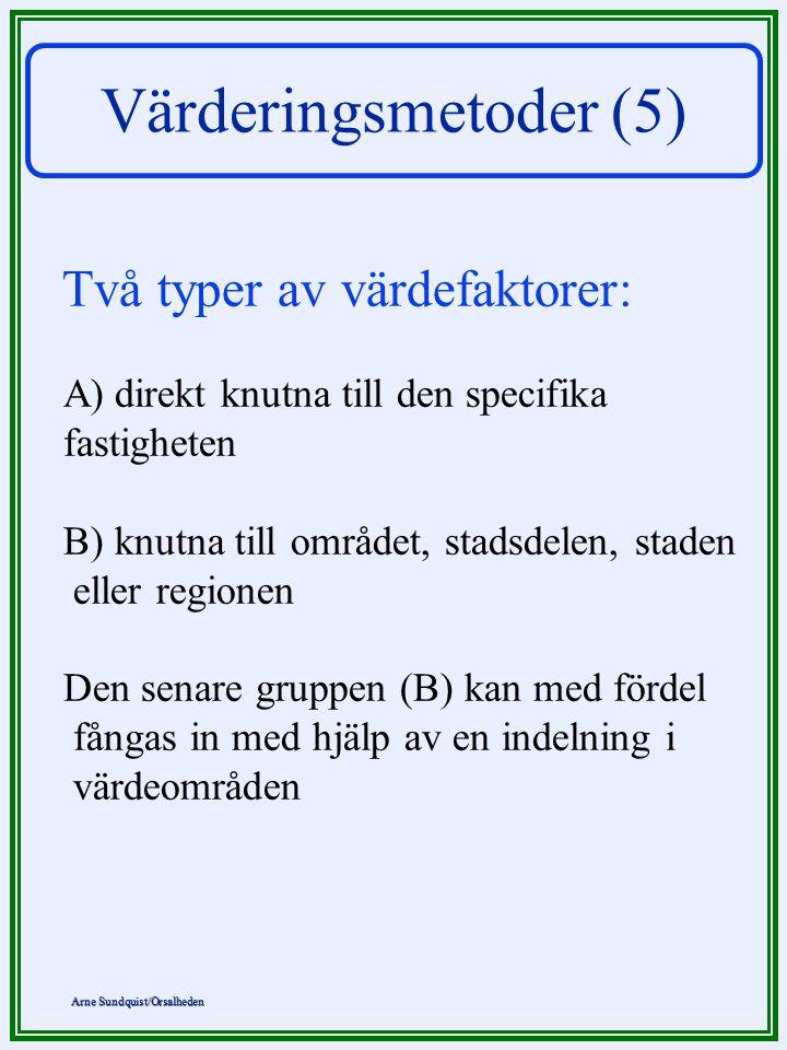 Arne Sundquist/Orsalheden Värderingsmetoder (5) Två typer av värdefaktorer: A) direkt knutna till den specifika fastigheten B) knutna till området, st