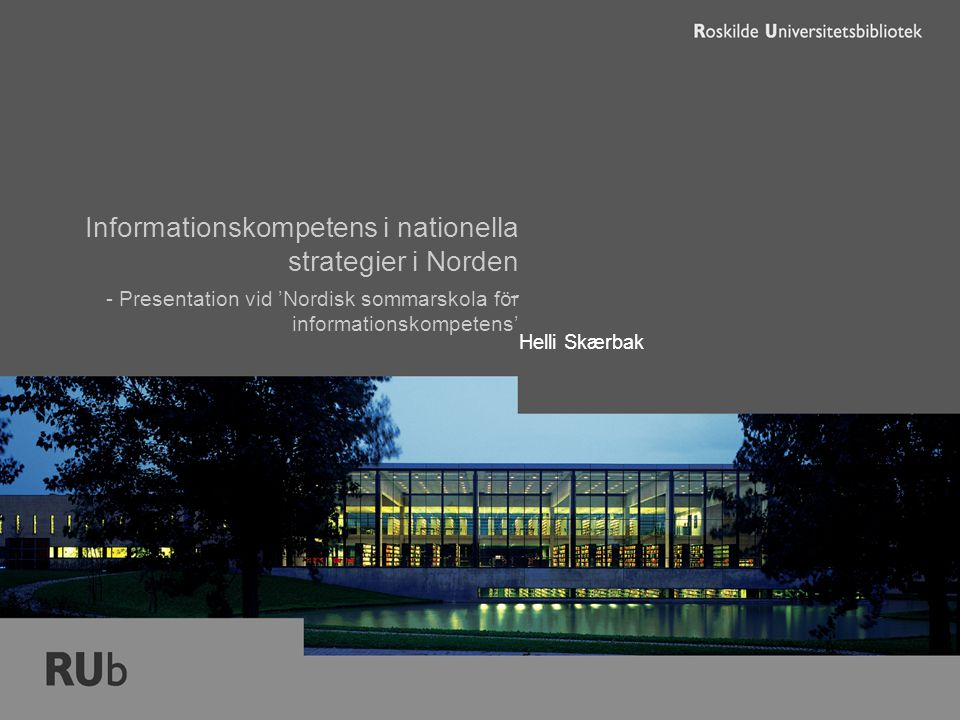 27.6.2005 Nordisk sommarskola för informationskompetens ´Roskilde Universitetsbibliotekwww.rub.ruc.dk Samarbete – integration – 2 I 'Studieplan för informationskompetens' (Fi) opererar man med 3 nivåer av ik: 1) nya studerande, 2) kandidatstuderande och 3) magisteravhandar - 2.