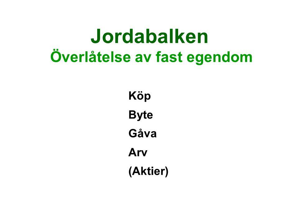 Jordabalken Överlåtelse av fast egendom Köp Byte Gåva Arv (Aktier)