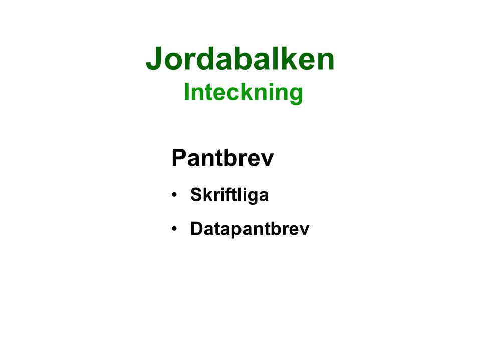 Jordabalken Inteckning Pantbrev Skriftliga Datapantbrev