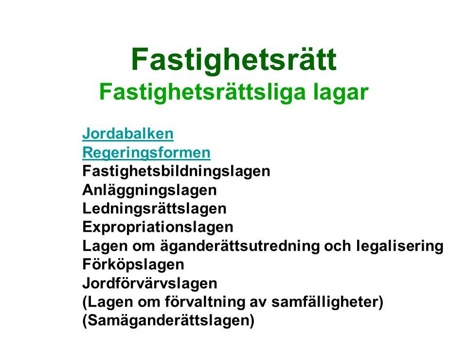 Jordabalken Första avdelningen Rättsförhållanden avseende fast egendom Fast egendom Jordabalken 1-2 kap.