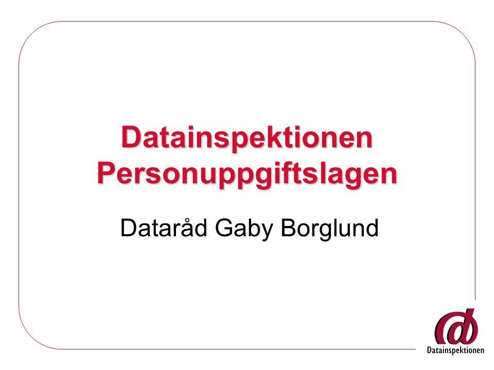 Datainspektionen Personuppgiftslagen Dataråd Gaby Borglund