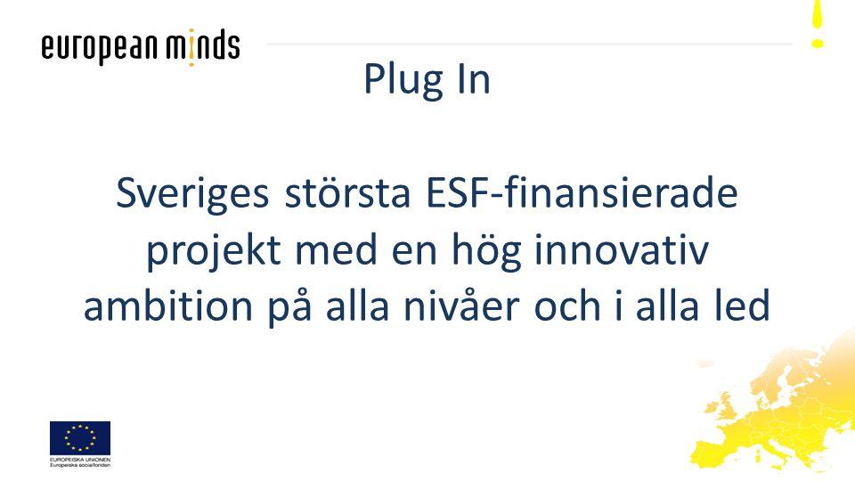 Plug In Sveriges största ESF-finansierade projekt med en hög innovativ ambition på alla nivåer och i alla led