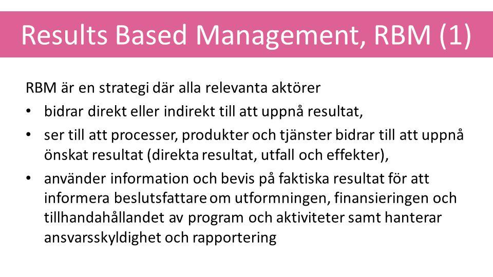 Results Based Management, RBM (1) RBM är en strategi där alla relevanta aktörer bidrar direkt eller indirekt till att uppnå resultat, ser till att pro