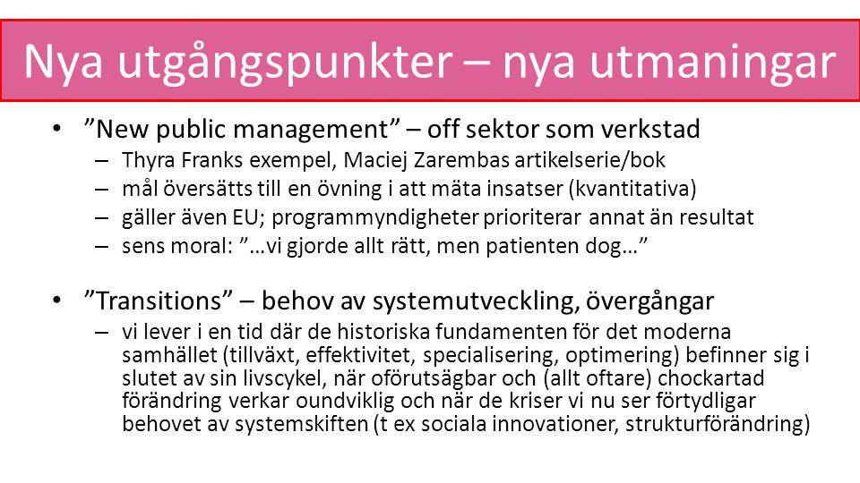 """Nya utgångspunkter – nya utmaningar """"New public management"""" – off sektor som verkstad – Thyra Franks exempel, Maciej Zarembas artikelserie/bok – mål ö"""
