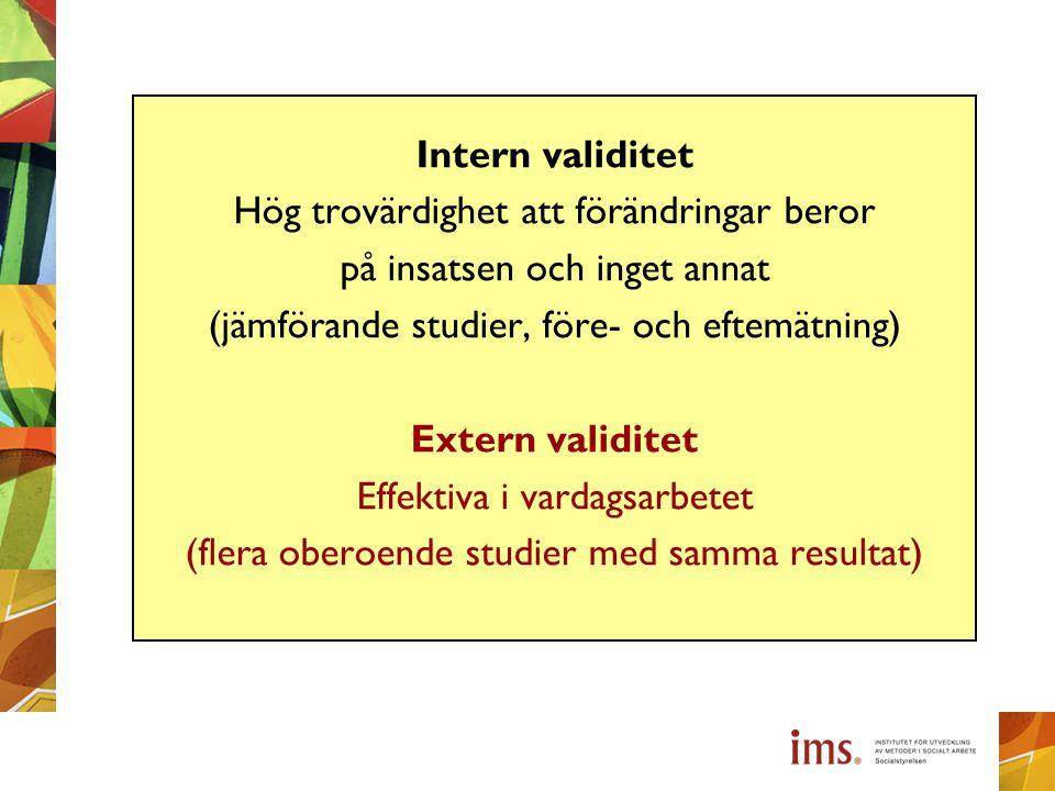 Intern validitet Hög trovärdighet att förändringar beror på insatsen och inget annat (jämförande studier, före- och eftemätning) Extern validitet Effe