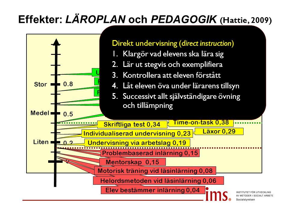 Effekter: LÄROPLAN och PEDAGOGIK (Hattie, 2009) Liten Medel Stor 0 0.2 0.5 0.8 Utvärdering av lärare 0,90 Undervisning via arbetslag 0,19 Feedback til