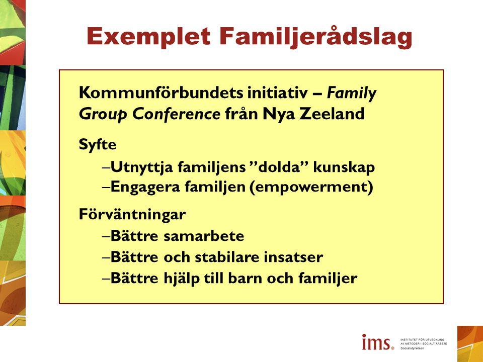 """Exemplet Familjerådslag Kommunförbundets initiativ – Family Group Conference från Nya Zeeland Syfte –Utnyttja familjens """"dolda"""" kunskap –Engagera fami"""