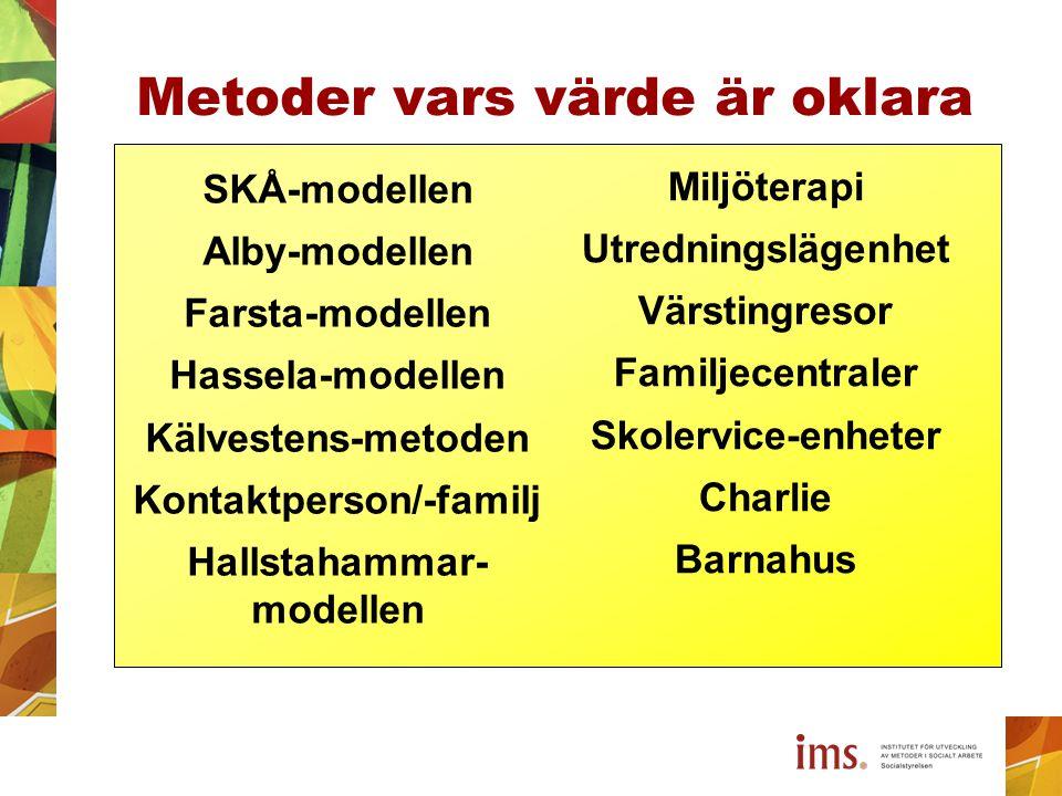 Miljöterapi Utredningslägenhet Värstingresor Familjecentraler Skolervice-enheter Charlie Barnahus Metoder vars värde är oklara SKÅ-modellen Alby-model