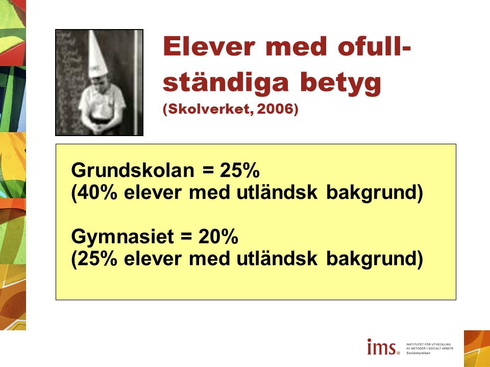 Elever med ofull- ständiga betyg (Skolverket, 2006) Grundskolan = 25% (40% elever med utländsk bakgrund) Gymnasiet = 20% (25% elever med utländsk bakg