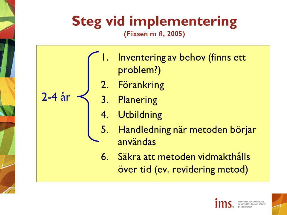 Steg vid implementering (Fixsen m fl, 2005) 1.Inventering av behov (finns ett problem?) 2.Förankring 3.Planering 4.Utbildning 5.Handledning när metode