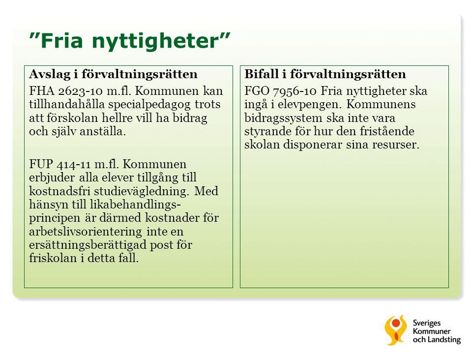 Fria nyttigheter Avslag i förvaltningsrätten FHA 2623-10 m.fl.