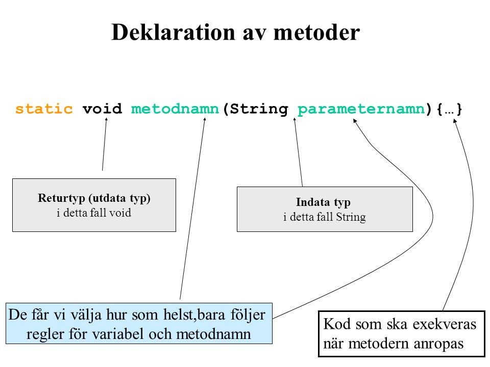 Metoders uppbyggnad En metod deklaration består av följande delar: Metodhuvud består av: –Namn –Retur-typ –ev.