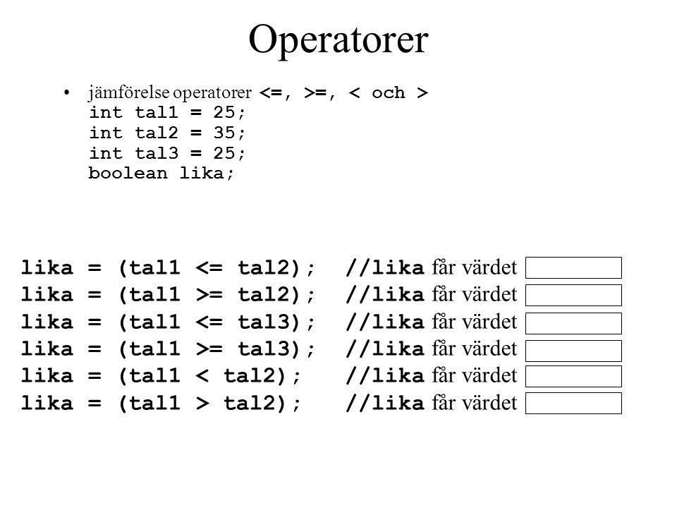 Operatorer jämförelse operatorer =, int tal1 = 25; int tal2 = 35; int tal3 = 25; boolean lika; lika = (tal1 = tal2); //lika får värdet lika = (tal1 = tal3); //lika får värdet lika = (tal1 tal2); //lika får värdet