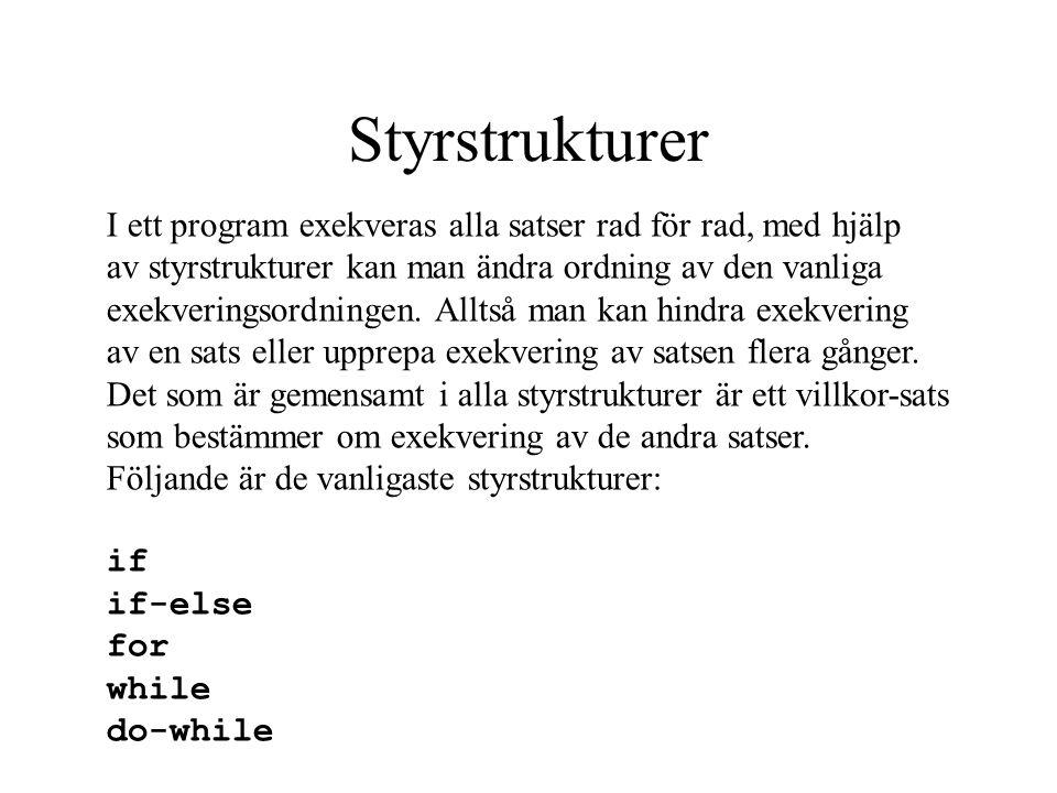 Modell för loop falskt Kod efter for eller while...