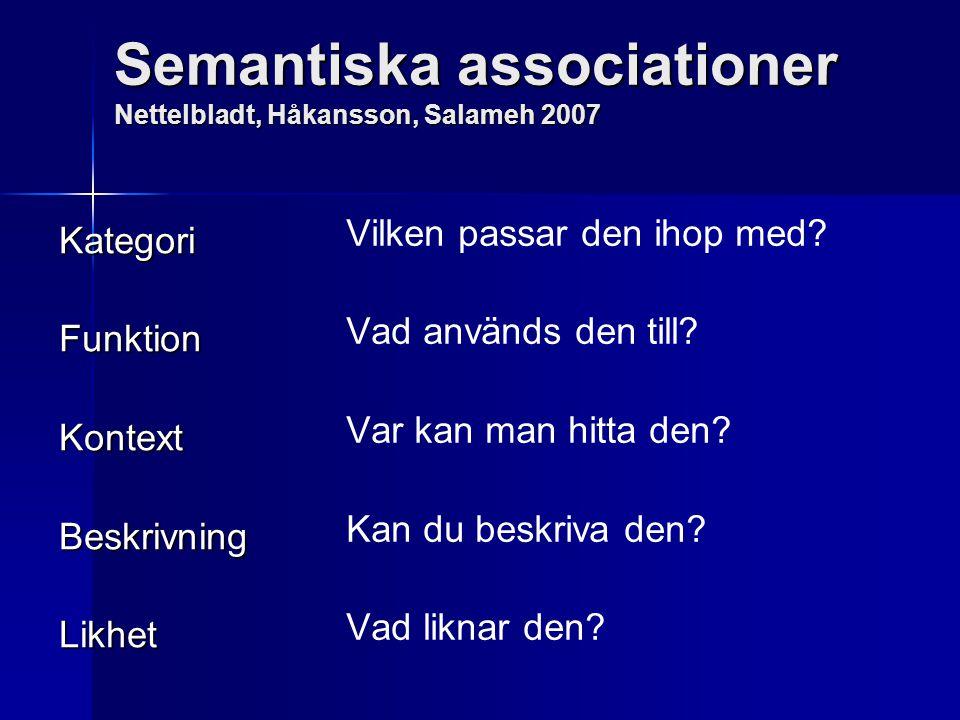 Semantiska associationer Nettelbladt, Håkansson, Salameh 2007 KategoriFunktionKontextBeskrivningLikhet Vilken passar den ihop med? Vad används den til