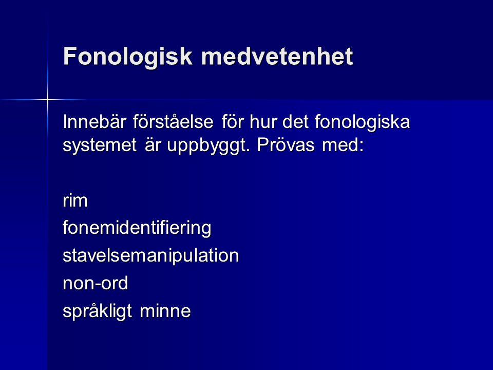 Fonologisk medvetenhet Innebär förståelse för hur det fonologiska systemet är uppbyggt. Prövas med: rimfonemidentifieringstavelsemanipulationnon-ord s