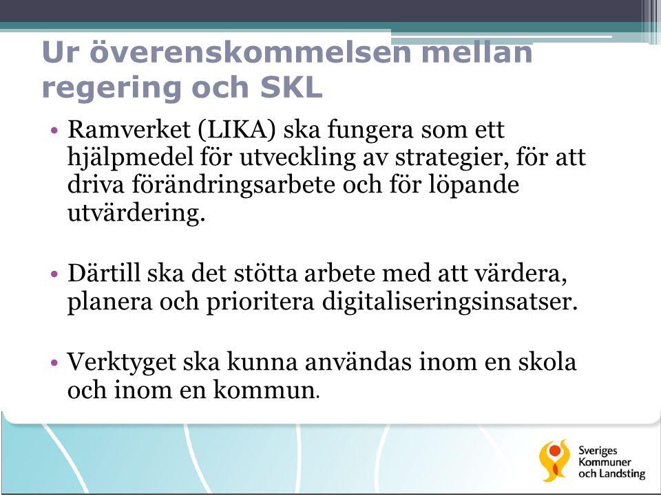Ur överenskommelsen mellan regering och SKL Ramverket (LIKA) ska fungera som ett hjälpmedel för utveckling av strategier, för att driva förändringsarbete och för löpande utvärdering.