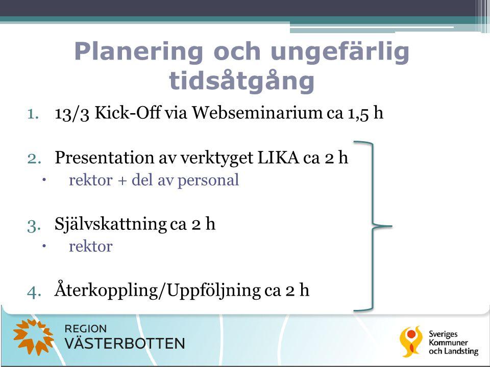 Planering och ungefärlig tidsåtgång 1.13/3 Kick-Off via Webseminarium ca 1,5 h 2.Presentation av verktyget LIKA ca 2 h  rektor + del av personal 3.Självskattning ca 2 h  rektor 4.Återkoppling/Uppföljning ca 2 h