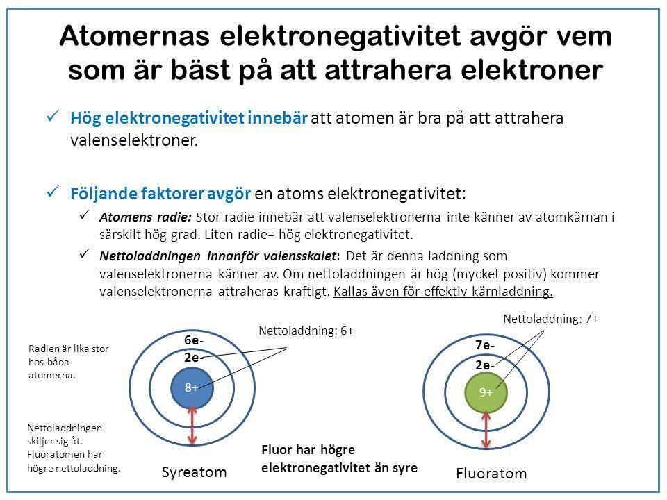 Atomernas elektronegativitet avgör vem som är bäst på att attrahera elektroner Hög elektronegativitet innebär att atomen är bra på att attrahera valen