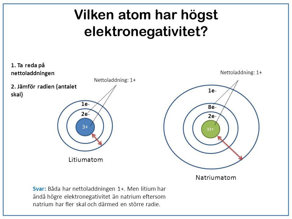 Vilken atom har högst elektronegativitet? Litiumatom Natriumatom 3+ 2e- 1e- Nettoladdning: 1+ 2e- 8e- Nettoladdning: 1+ Svar: Båda har nettoladdningen