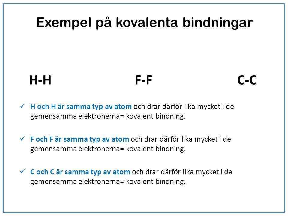 Exempel på kovalenta bindningar H-HF-F C-C H och H är samma typ av atom och drar därför lika mycket i de gemensamma elektronerna= kovalent bindning. F