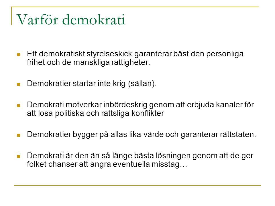 Varför demokrati Ett demokratiskt styrelseskick garanterar bäst den personliga frihet och de mänskliga rättigheter. Demokratier startar inte krig (säl