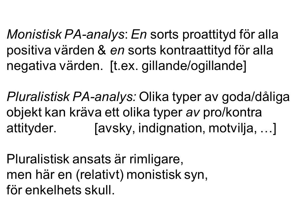 Monistisk PA-analys: En sorts proattityd för alla positiva värden & en sorts kontraattityd för alla negativa värden.