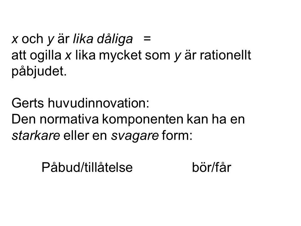 x och y är lika dåliga = att ogilla x lika mycket som y är rationellt påbjudet.