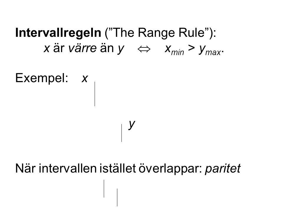 Intervallregeln ( The Range Rule ): x är värre än y  x min > y max.