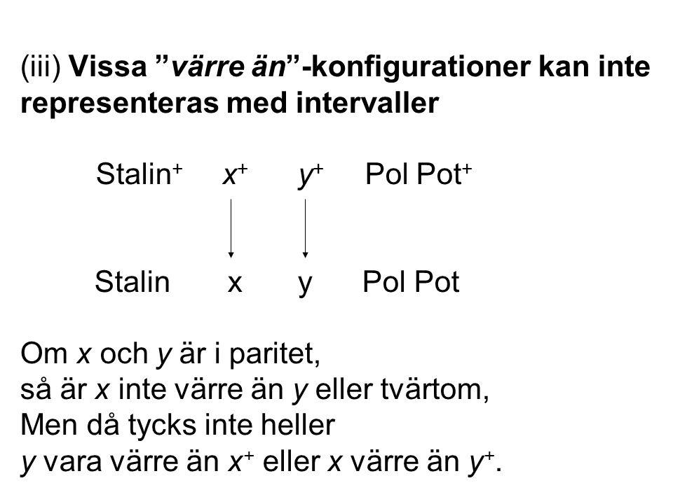 (iii) Vissa värre än -konfigurationer kan inte representeras med intervaller Stalin + x + y + Pol Pot + Stalin x y Pol Pot Om x och y är i paritet, så är x inte värre än y eller tvärtom, Men då tycks inte heller y vara värre än x + eller x värre än y +.