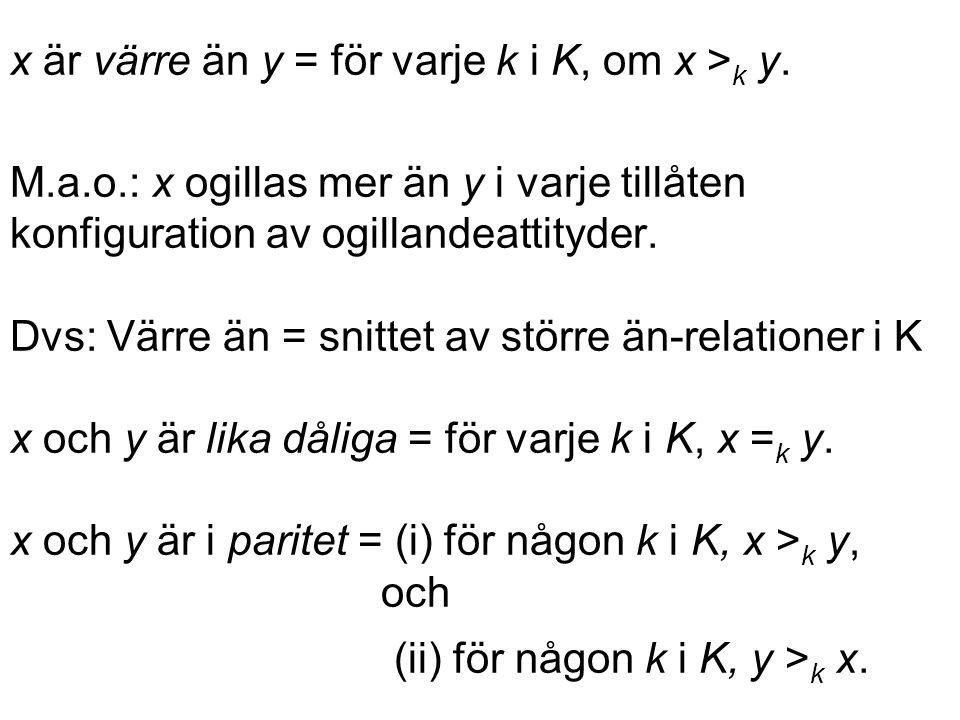 x är värre än y = för varje k i K, om x > k y.