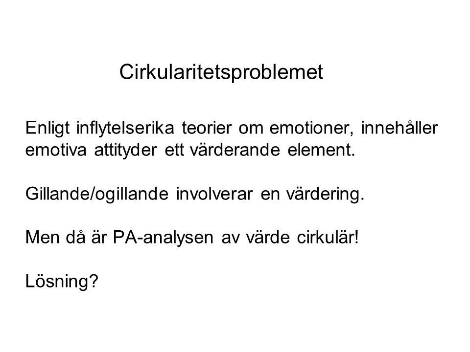Cirkularitetsproblemet Enligt inflytelserika teorier om emotioner, innehåller emotiva attityder ett värderande element.