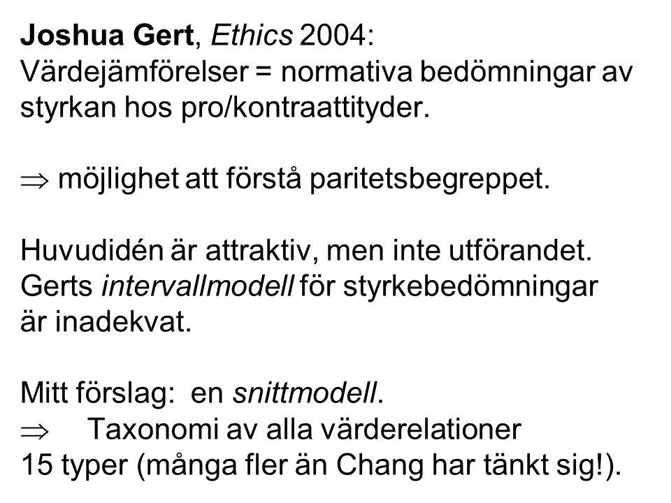 Joshua Gert, Ethics 2004: Värdejämförelser = normativa bedömningar av styrkan hos pro/kontraattityder.