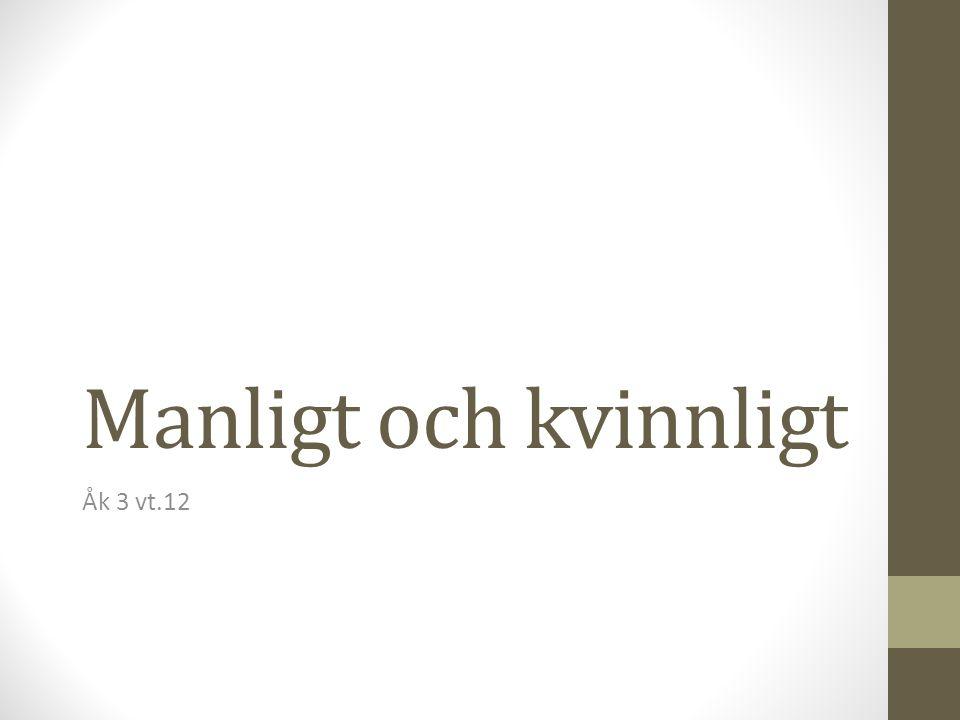 Manligt och kvinnligt Åk 3 vt.12