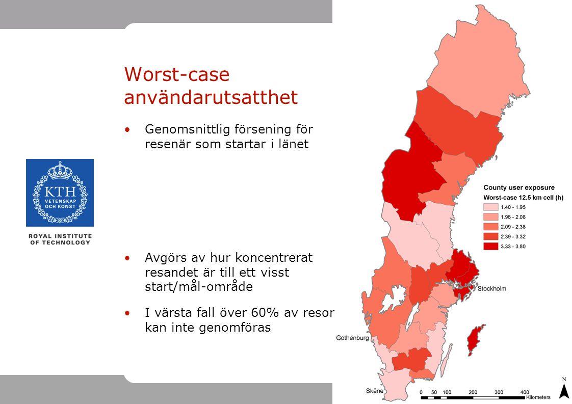 16 Worst-case användarutsatthet Genomsnittlig försening för resenär som startar i länet Avgörs av hur koncentrerat resandet är till ett visst start/mål-område I värsta fall över 60% av resor kan inte genomföras