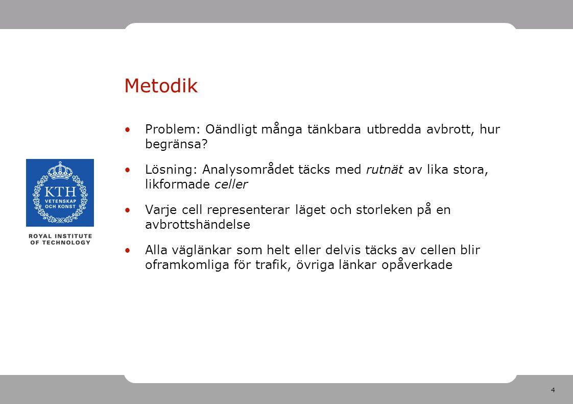4 Metodik Problem: Oändligt många tänkbara utbredda avbrott, hur begränsa? Lösning: Analysområdet täcks med rutnät av lika stora, likformade celler Va