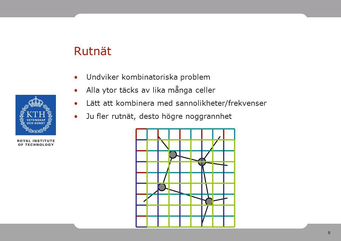 8 Undviker kombinatoriska problem Alla ytor täcks av lika många celler Lätt att kombinera med sannolikheter/frekvenser Ju fler rutnät, desto högre noggrannhet Rutnät