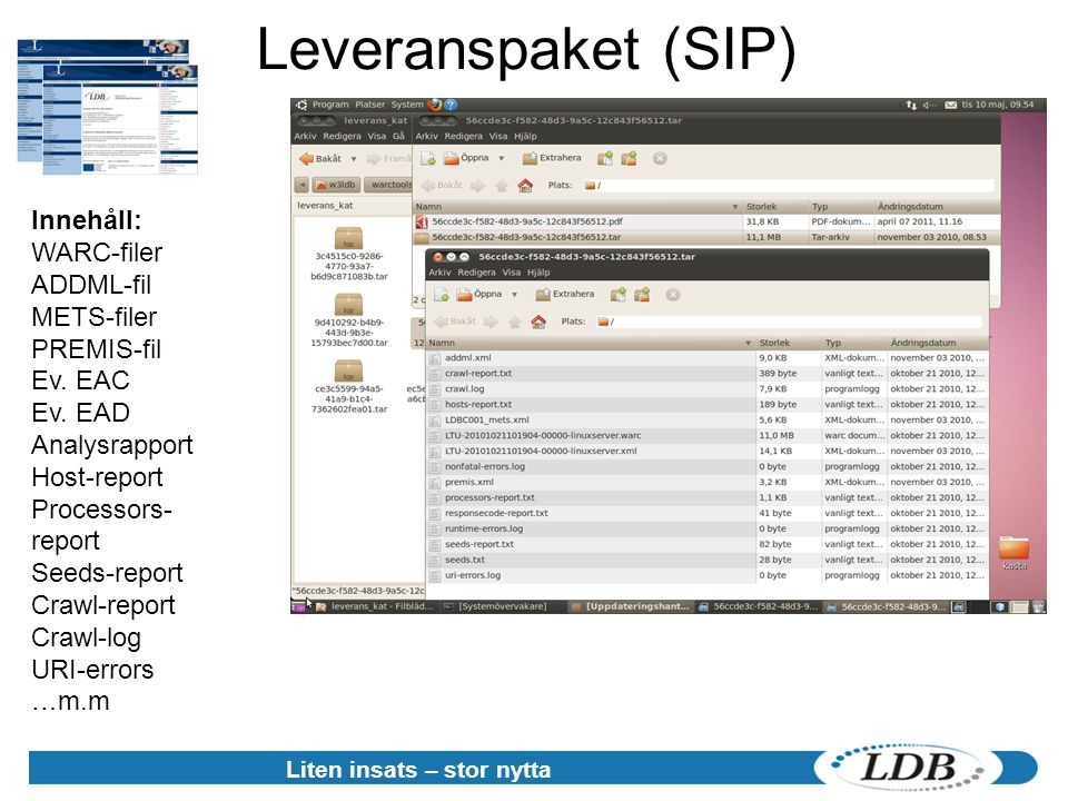 Leveranspaket (SIP) Liten insats – stor nytta Innehåll: WARC-filer ADDML-fil METS-filer PREMIS-fil Ev. EAC Ev. EAD Analysrapport Host-report Processor